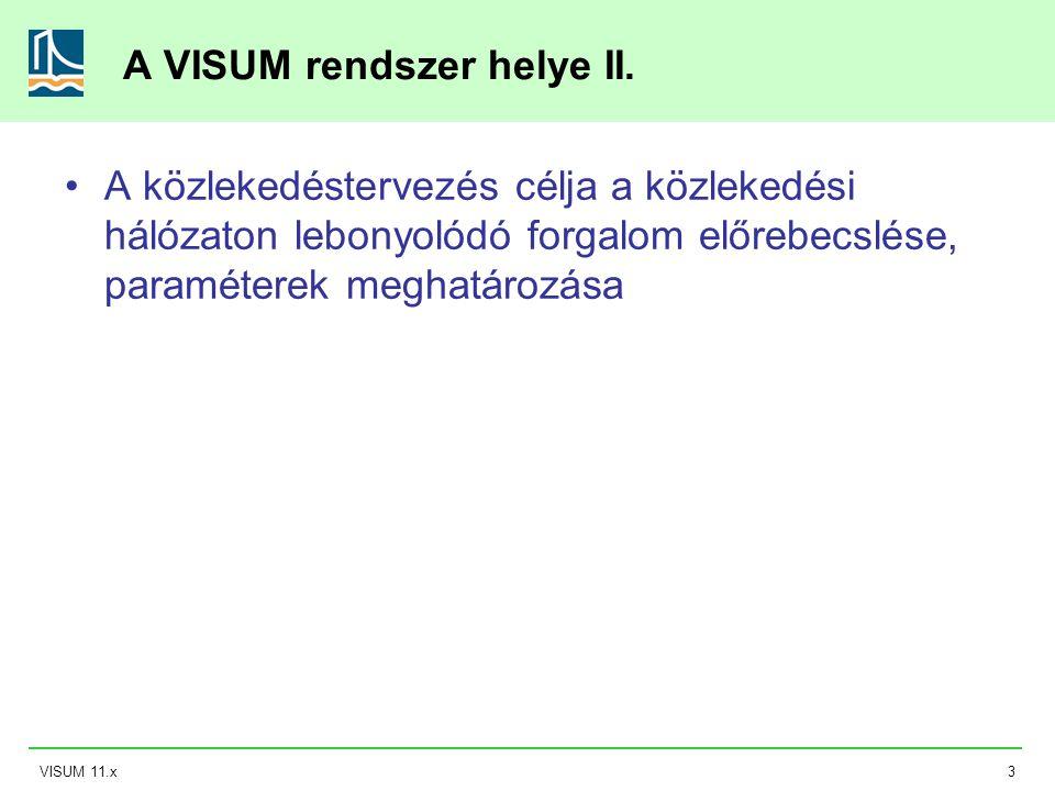 VISUM 11.x3 A VISUM rendszer helye II. A közlekedéstervezés célja a közlekedési hálózaton lebonyolódó forgalom előrebecslése, paraméterek meghatározás