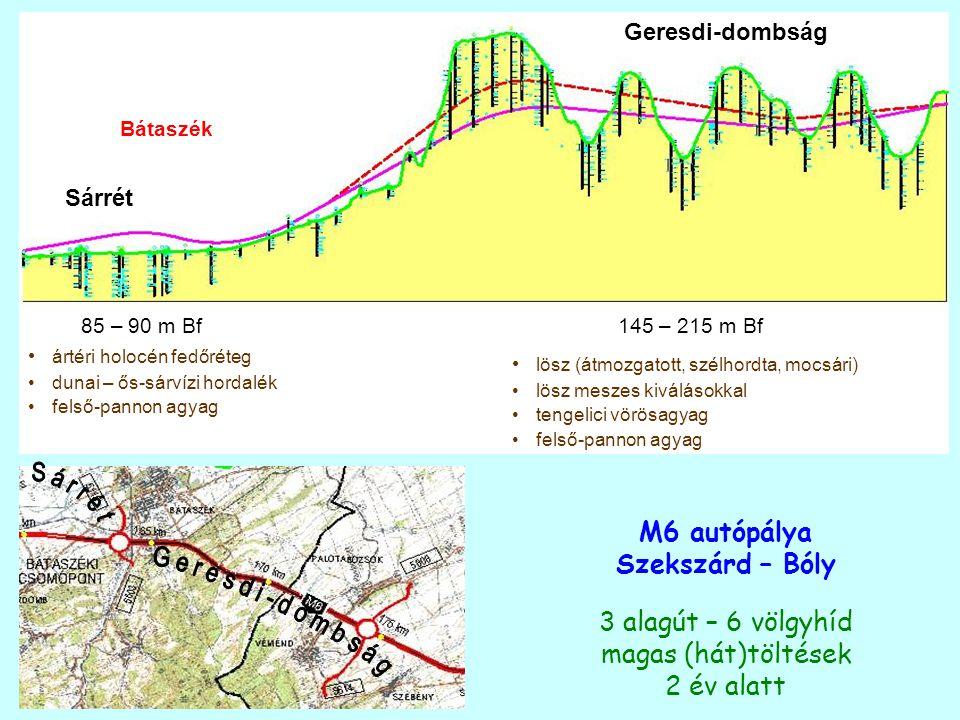 Sárrét Geresdi-dombság Bátaszék 85 – 90 m Bf145 – 215 m Bf ártéri holocén fedőréteg dunai – ős-sárvízi hordalék felső-pannon agyag lösz (átmozgatott,