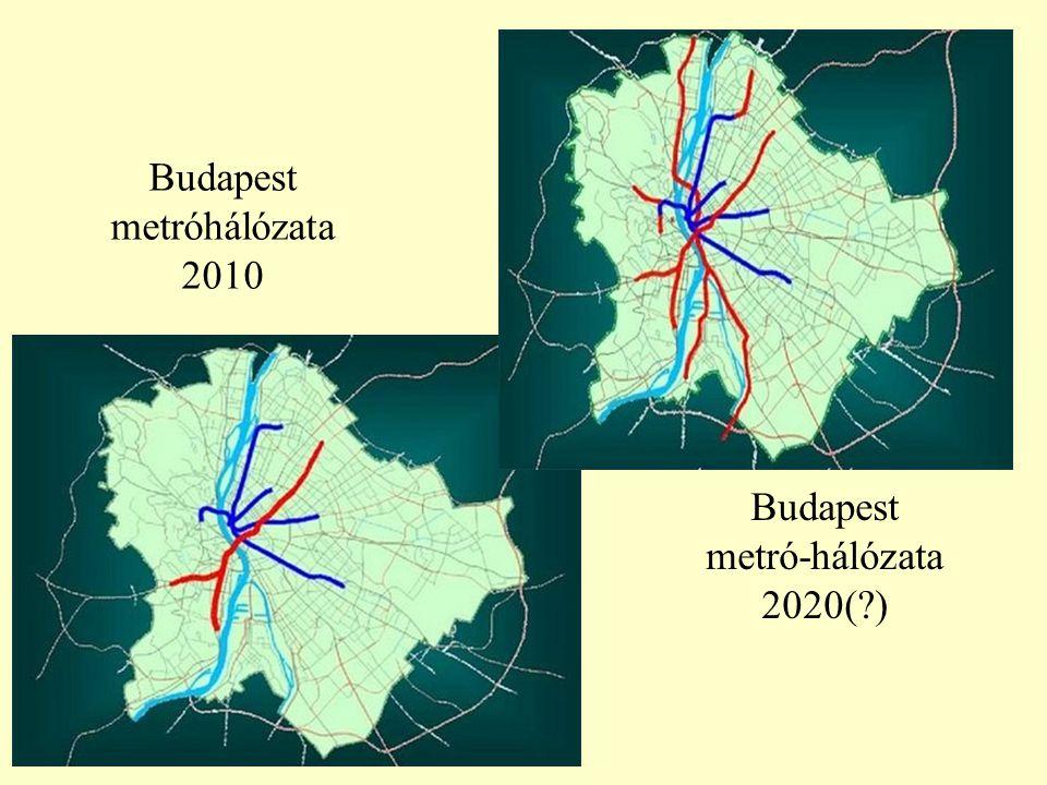 Budapest metróhálózata 2010 Budapest metró-hálózata 2020(?)
