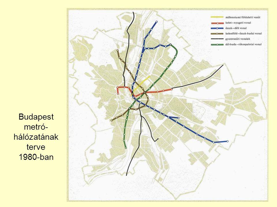 Budapest metró- hálózatának terve 1980-ban