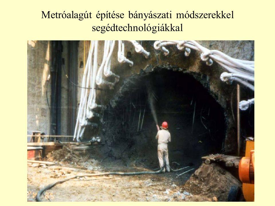 Metróalagút építése bányászati módszerekkel segédtechnológiákkal