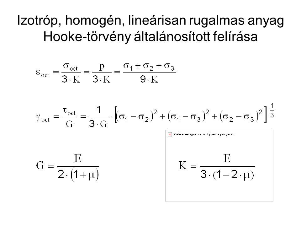 Izotróp, homogén, lineárisan rugalmas anyag Hooke-törvény általánosított felírása
