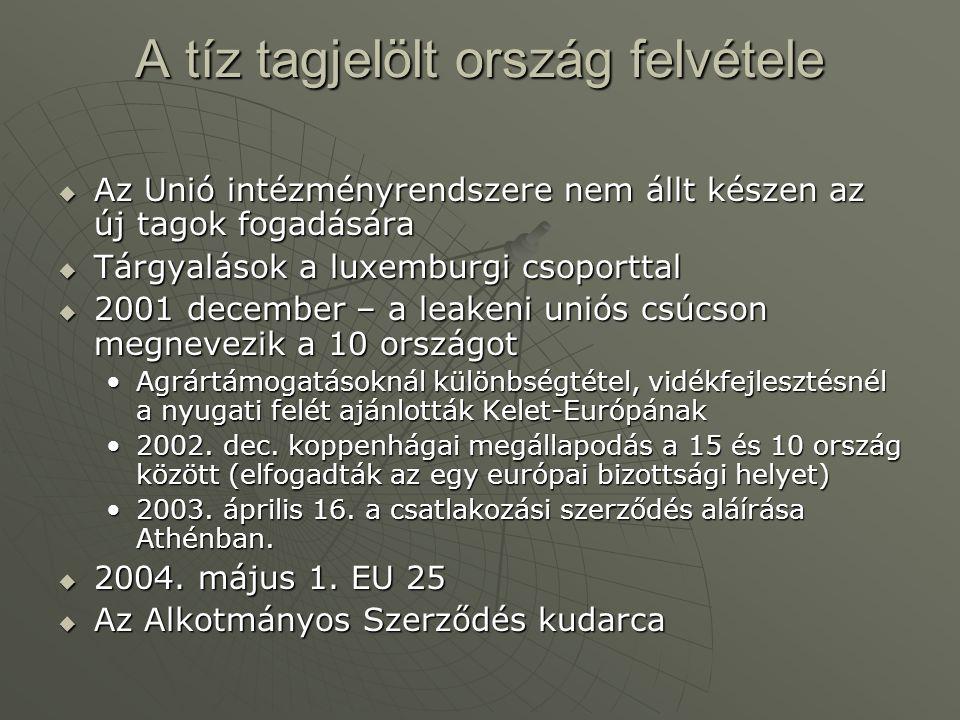 A tíz tagjelölt ország felvétele  Az Unió intézményrendszere nem állt készen az új tagok fogadására  Tárgyalások a luxemburgi csoporttal  2001 dece