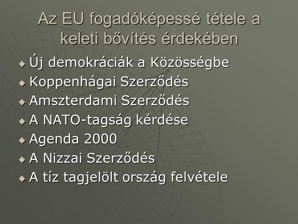 Az EU fogadóképessé tétele a keleti bővítés érdekében  Új demokráciák a Közösségbe  Koppenhágai Szerződés  Amszterdami Szerződés  A NATO-tagság ké