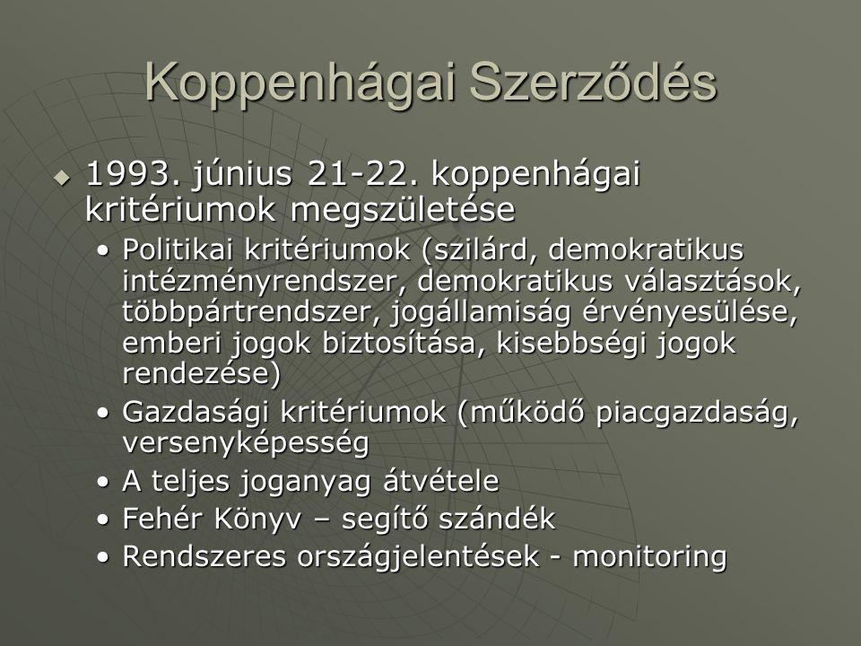 Koppenhágai Szerződés  1993. június 21-22. koppenhágai kritériumok megszületése Politikai kritériumok (szilárd, demokratikus intézményrendszer, demok