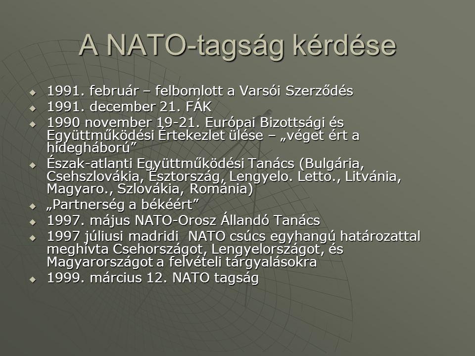 A NATO-tagság kérdése  1991. február – felbomlott a Varsói Szerződés  1991. december 21. FÁK  1990 november 19-21. Európai Bizottsági és Együttműkö