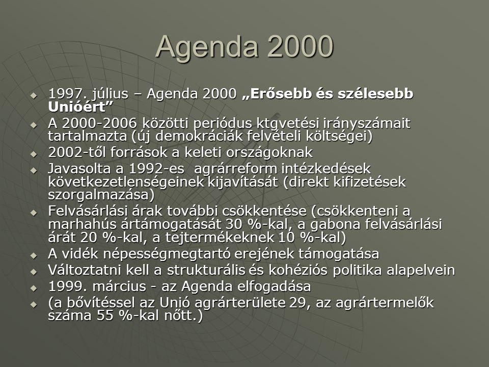 """Agenda 2000  1997. július – Agenda 2000 """"Erősebb és szélesebb Unióért""""  A 2000-2006 közötti periódus ktgvetési irányszámait tartalmazta (új demokrác"""