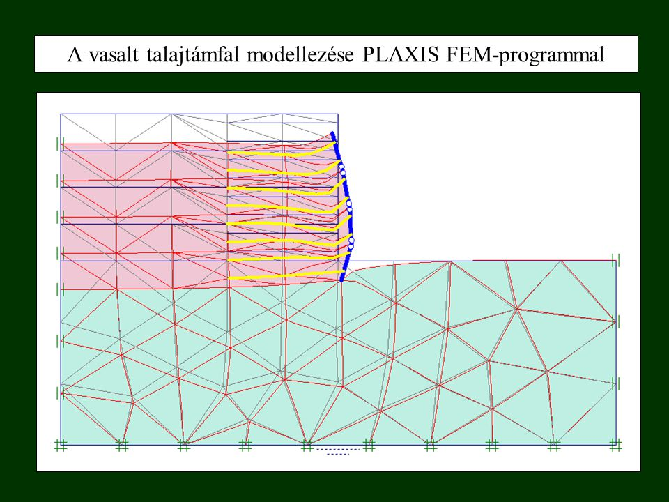 A vasalt talajtámfal modellezése PLAXIS FEM-programmal