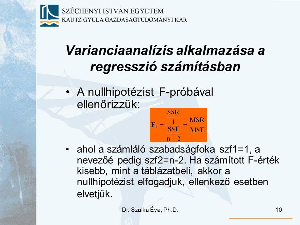 Dr. Szalka Éva, Ph.D.10 Varianciaanalízis alkalmazása a regresszió számításban A nullhipotézist F-próbával ellenőrizzük: ahol a számláló szabadságfoka