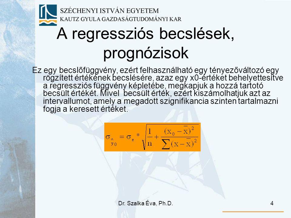 Dr. Szalka Éva, Ph.D.4 A regressziós becslések, prognózisok Ez egy becslőfüggvény, ezért felhasználható egy tényezőváltozó egy rögzített értékének bec