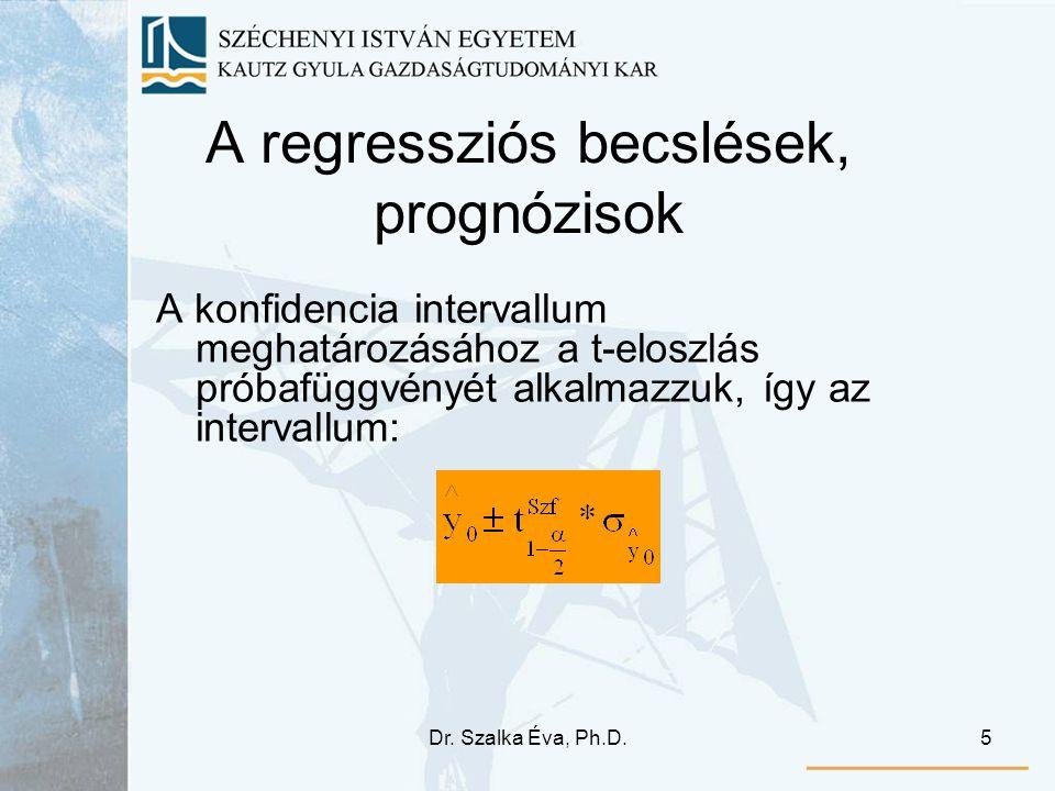 Dr. Szalka Éva, Ph.D.5 A regressziós becslések, prognózisok A konfidencia intervallum meghatározásához a t-eloszlás próbafüggvényét alkalmazzuk, így a