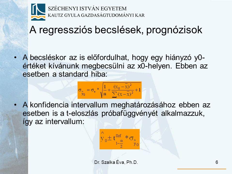Dr. Szalka Éva, Ph.D.6 A regressziós becslések, prognózisok A becsléskor az is előfordulhat, hogy egy hiányzó y0- értéket kívánunk megbecsülni az x0-h