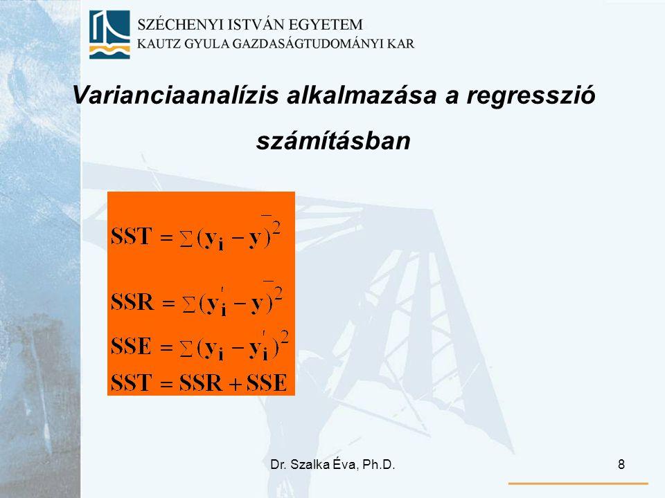 Dr. Szalka Éva, Ph.D.8 Varianciaanalízis alkalmazása a regresszió számításban