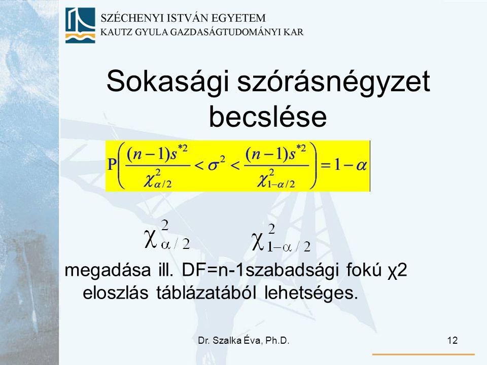 Dr. Szalka Éva, Ph.D.12 Sokasági szórásnégyzet becslése megadása ill. DF=n-1szabadsági fokú χ2 eloszlás táblázatából lehetséges.