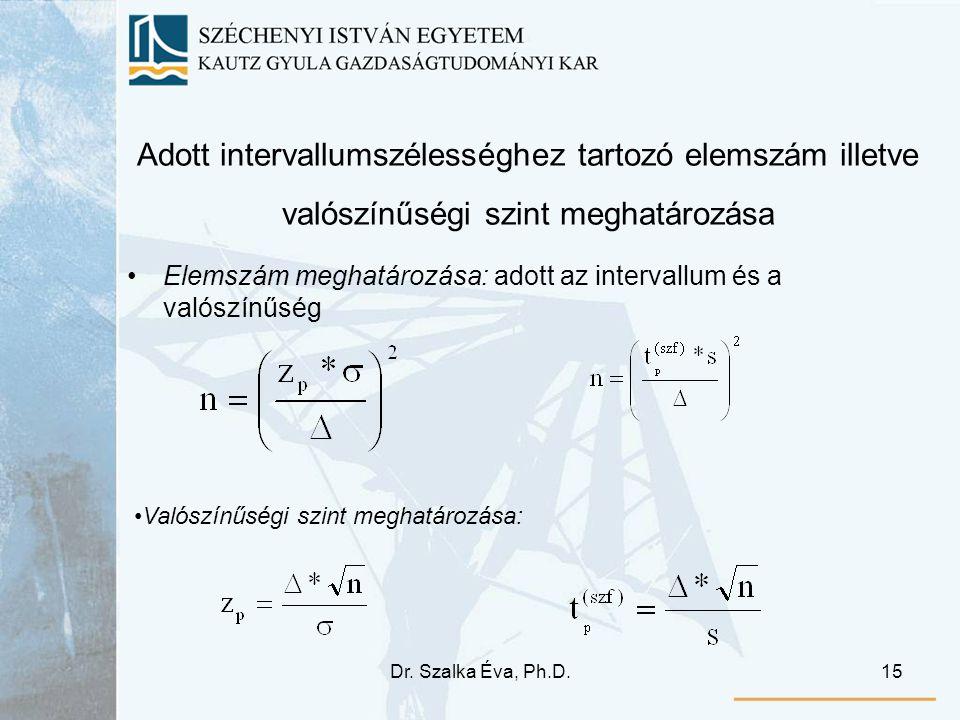 Dr. Szalka Éva, Ph.D.15 Adott intervallumszélességhez tartozó elemszám illetve valószínűségi szint meghatározása Elemszám meghatározása: adott az inte