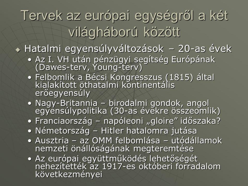 Tervek az európai egységről a két világháború között  Hatalmi egyensúlyváltozások – 20-as évek Az I. VH után pénzügyi segítség Európának (Dawes-terv,