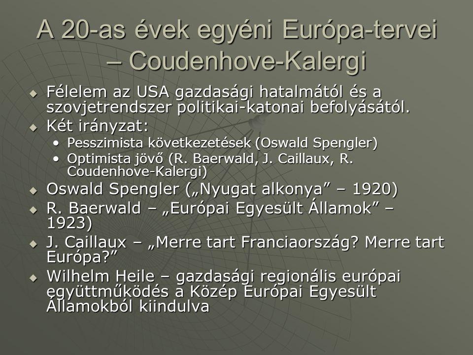 A 20-as évek egyéni Európa-tervei – Coudenhove-Kalergi  Félelem az USA gazdasági hatalmától és a szovjetrendszer politikai-katonai befolyásától.  Ké