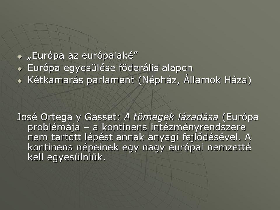 Kormányszintű Európa-tervezetek a 30-as évek elején  Aristide Briand – európai konföderáció (pénzügyi unió, közös fizetőeszköz, gyarmatok közös hasznosítása, közös biztonságpolitika Németország, Nagy-Britannia számára elfogadhatatlanNémetország, Nagy-Britannia számára elfogadhatatlan