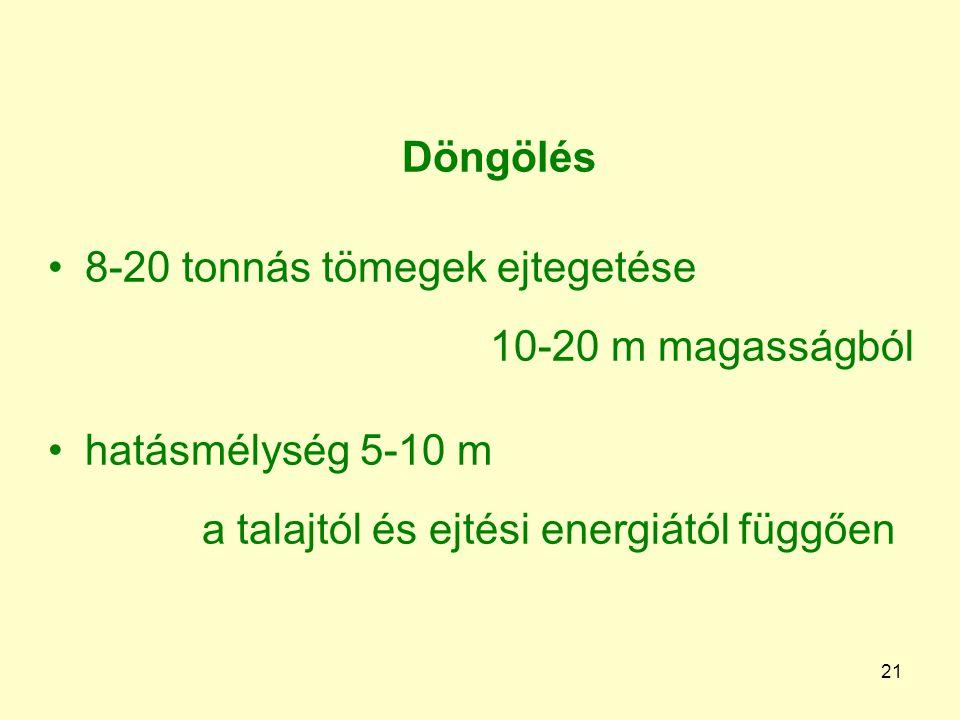 21 Döngölés 8-20 tonnás tömegek ejtegetése 10-20 m magasságból hatásmélység 5-10 m a talajtól és ejtési energiától függően