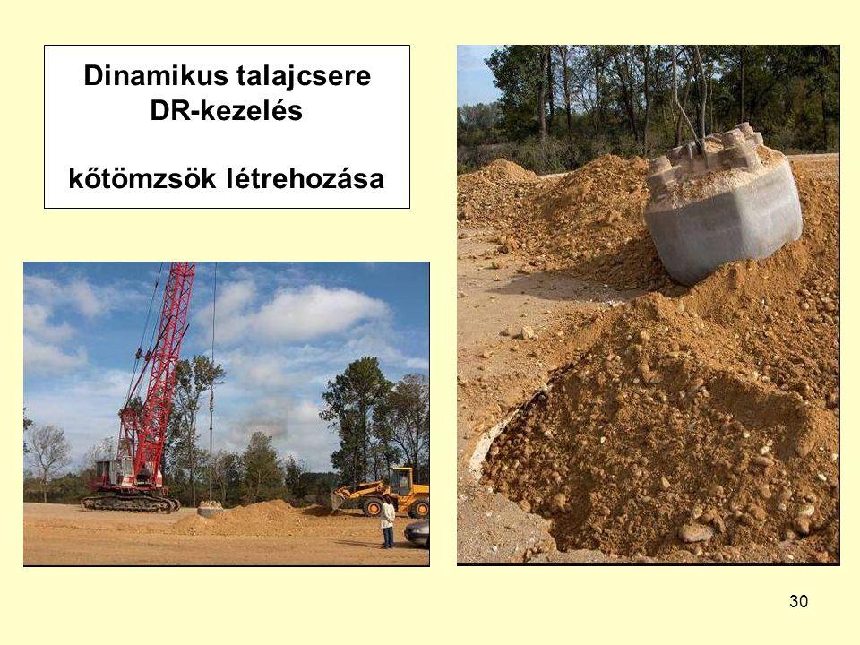 30 Dinamikus talajcsere DR-kezelés kőtömzsök létrehozása