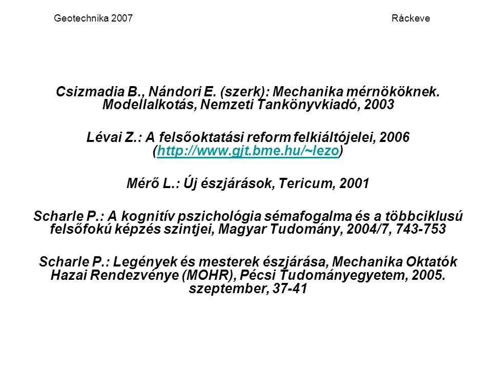 Geotechnika 2007 Ráckeve Csizmadia B., Nándori E. (szerk): Mechanika mérnököknek. Modellalkotás, Nemzeti Tankönyvkiadó, 2003 Lévai Z.: A felsőoktatási