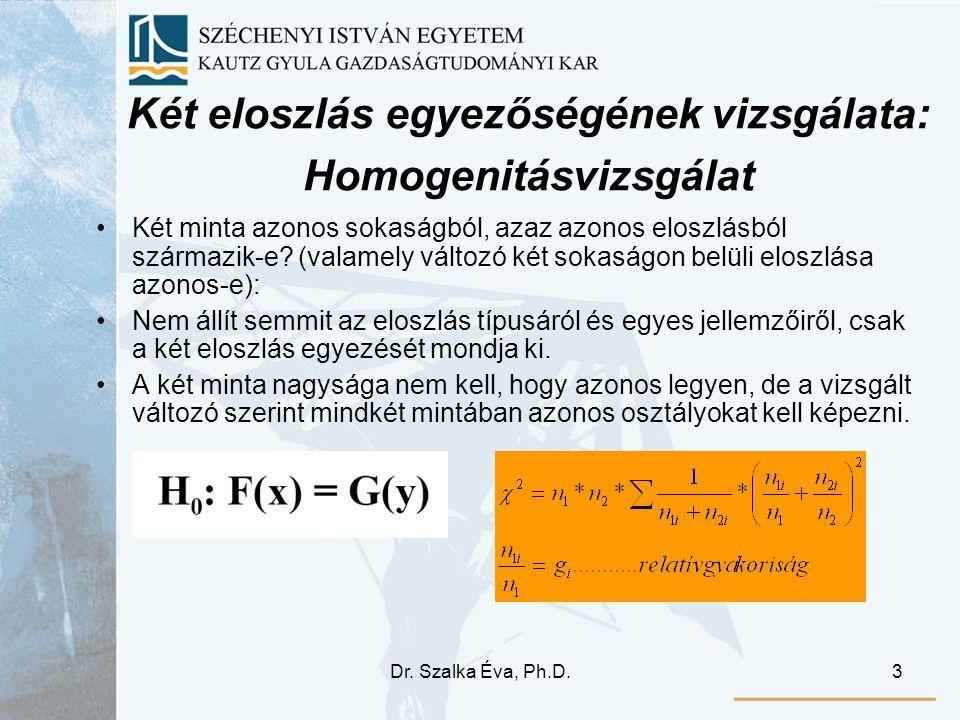 Dr. Szalka Éva, Ph.D.3 Két eloszlás egyezőségének vizsgálata: Homogenitásvizsgálat Két minta azonos sokaságból, azaz azonos eloszlásból származik-e? (