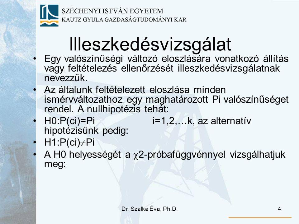 Dr. Szalka Éva, Ph.D.4 Illeszkedésvizsgálat Egy valószínűségi változó eloszlására vonatkozó állítás vagy feltételezés ellenőrzését illeszkedésvizsgála