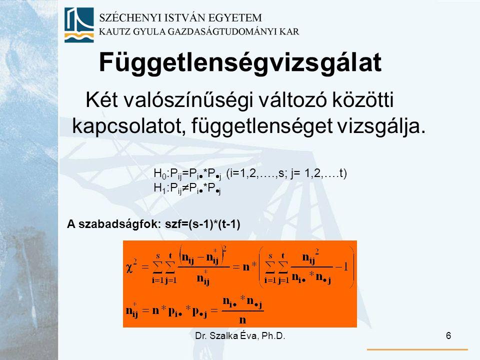 Dr. Szalka Éva, Ph.D.6 Függetlenségvizsgálat Két valószínűségi változó közötti kapcsolatot, függetlenséget vizsgálja. H 0 :P ij =P i  *P  j (i=1,2,…