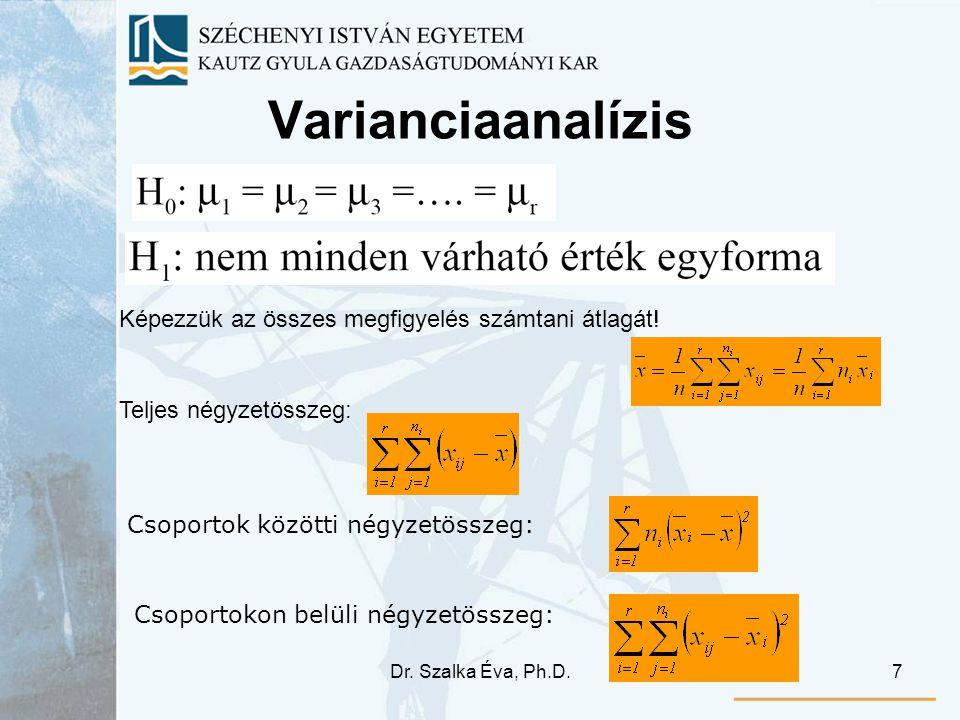 Dr. Szalka Éva, Ph.D.7 Varianciaanalízis Képezzük az összes megfigyelés számtani átlagát! Teljes négyzetösszeg: Csoportok közötti négyzetösszeg: Csopo