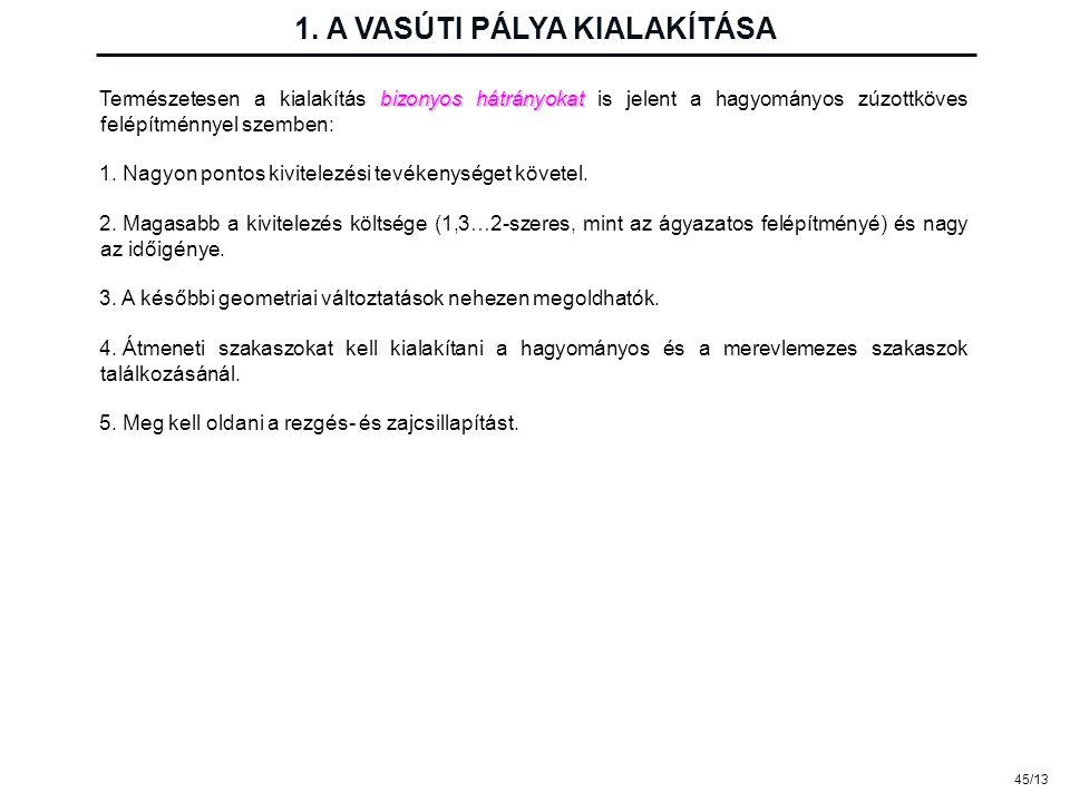 1. A VASÚTI PÁLYA KIALAKÍTÁSA 45/13 bizonyos hátrányokat Természetesen a kialakítás bizonyos hátrányokat is jelent a hagyományos zúzottköves felépítmé