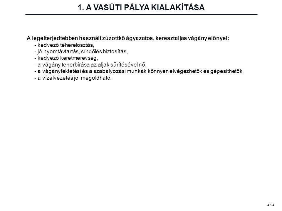 45/4 1. A VASÚTI PÁLYA KIALAKÍTÁSA A legelterjedtebben használt zúzottkő ágyazatos, keresztaljas vágány előnyei: - kedvező teherelosztás, - jó nyomtáv