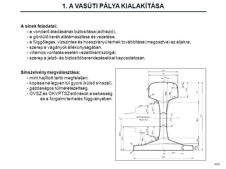 45/5 1. A VASÚTI PÁLYA KIALAKÍTÁSA A sínek feladatai: - a vonóerő átadásának biztosítása (adhézió), - a gördülő kerék alátámasztása és vezetése, - a f
