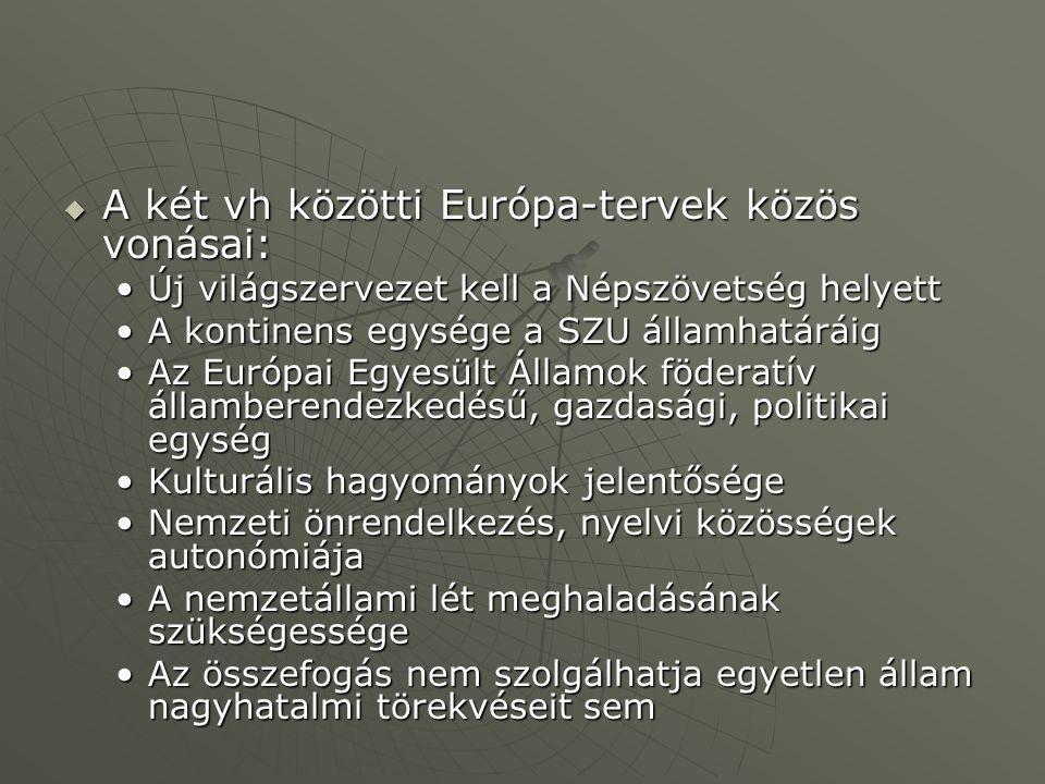  A két vh közötti Európa-tervek közös vonásai: Új világszervezet kell a Népszövetség helyettÚj világszervezet kell a Népszövetség helyett A kontinens