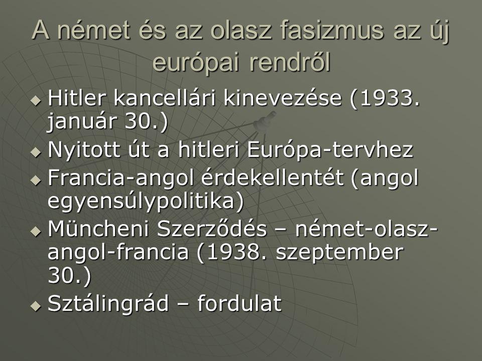 A német és az olasz fasizmus az új európai rendről  Hitler kancellári kinevezése (1933. január 30.)  Nyitott út a hitleri Európa-tervhez  Francia-a
