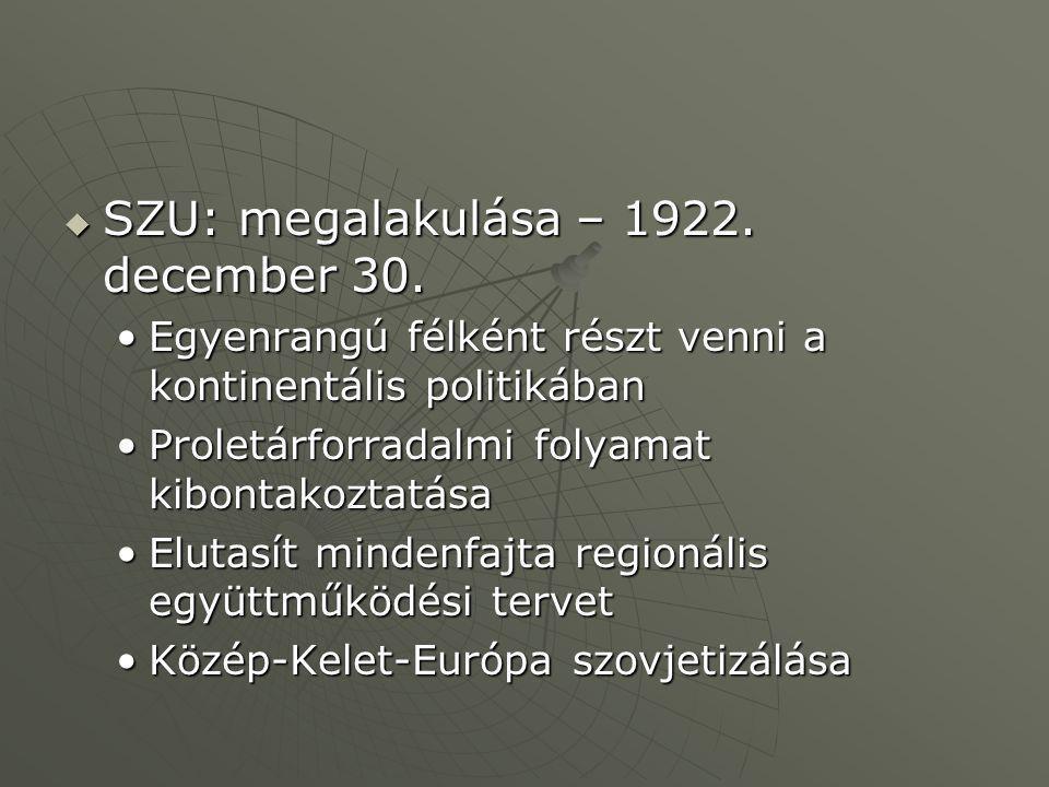  SZU: megalakulása – 1922. december 30. Egyenrangú félként részt venni a kontinentális politikábanEgyenrangú félként részt venni a kontinentális poli