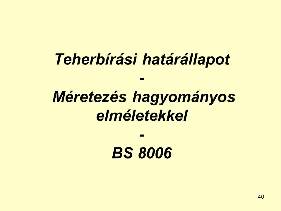 40 Teherbírási határállapot - Méretezés hagyományos elméletekkel - BS 8006