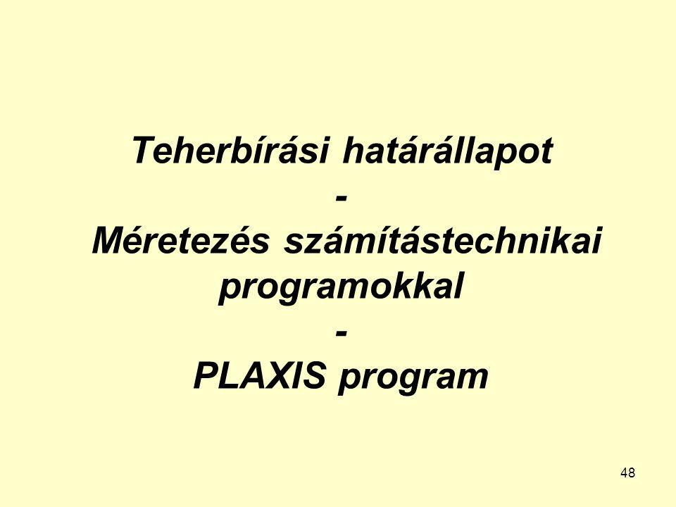 48 Teherbírási határállapot - Méretezés számítástechnikai programokkal - PLAXIS program