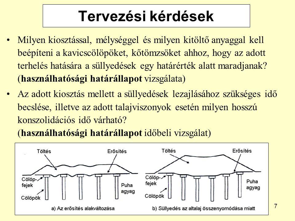 7 Tervezési kérdések Milyen kiosztással, mélységgel és milyen kitöltő anyaggal kell beépíteni a kavicscölöpöket, kőtömzsöket ahhoz, hogy az adott terhelés hatására a süllyedések egy határérték alatt maradjanak.