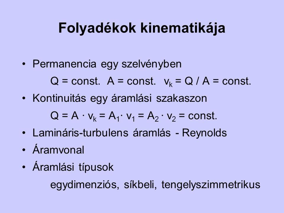 Folyadékok kinematikája Permanencia egy szelvényben Q = const.A = const.v k = Q / A = const. Kontinuitás egy áramlási szakaszon Q = A · v k = A 1 · v