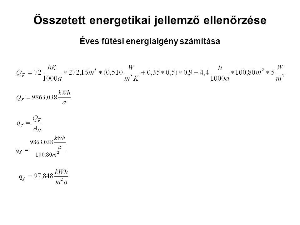 Összetett energetikai jellemző ellenőrzése Éves fűtési energiaigény számítása