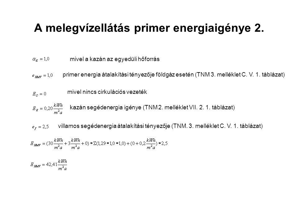 A melegvízellátás primer energiaigénye 2. mivel a kazán az egyedüli hőforrás primer energia átalakítási tényezője földgáz esetén (TNM 3. melléklet C.