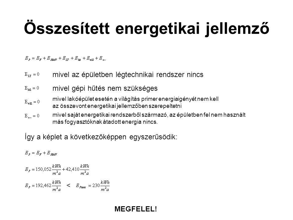 Összesített energetikai jellemző Így a képlet a következőképpen egyszerűsödik: < MEGFELEL! mivel az épületben légtechnikai rendszer nincs mivel gépi h