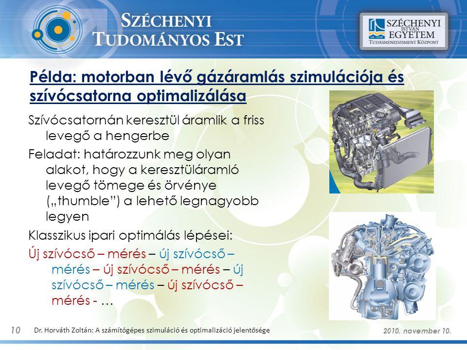 """Példa: motorban lévő gázáramlás szimulációja és szívócsatorna optimalizálása Szívócsatornán keresztül áramlik a friss levegő a hengerbe Feladat: határozzunk meg olyan alakot, hogy a keresztüláramló levegő tömege és örvénye (""""thumble ) a lehető legnagyobb legyen Klasszikus ipari optimálás lépései: Új szívócső – mérés – új szívócső – mérés – új szívócső – mérés – új szívócső – mérés – új szívócső – mérés - … 10 Dr."""