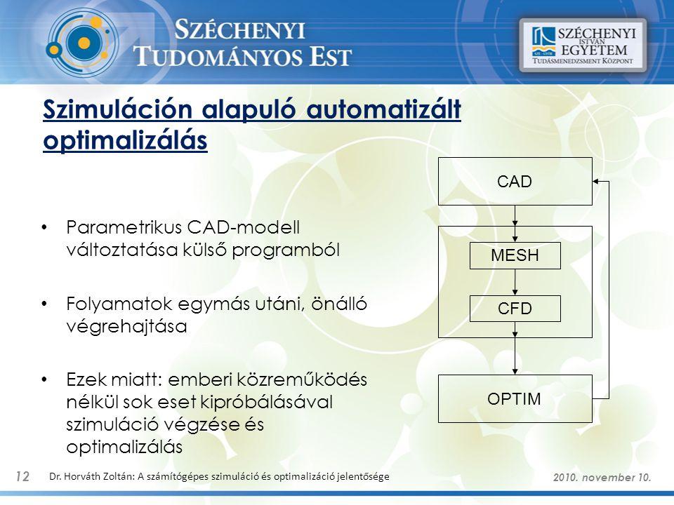 Szimuláción alapuló automatizált optimalizálás Parametrikus CAD-modell változtatása külső programból Folyamatok egymás utáni, önálló végrehajtása Ezek miatt: emberi közreműködés nélkül sok eset kipróbálásával szimuláció végzése és optimalizálás 12 Dr.