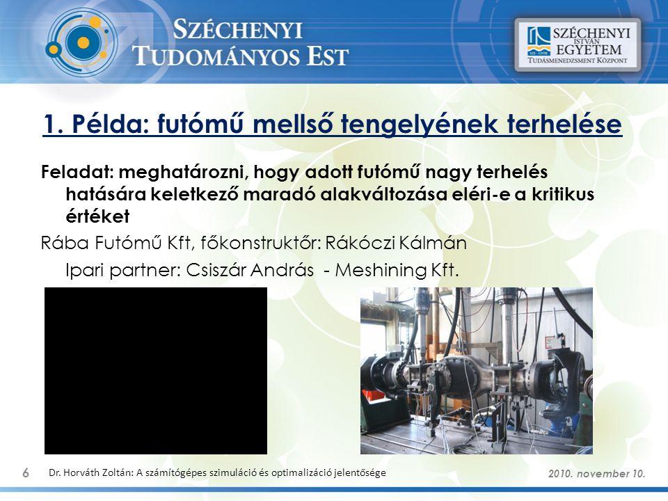 1. Példa: futómű mellső tengelyének terhelése 6 Dr. Horváth Zoltán: A számítógépes szimuláció és optimalizáció jelentősége Feladat: meghatározni, hogy
