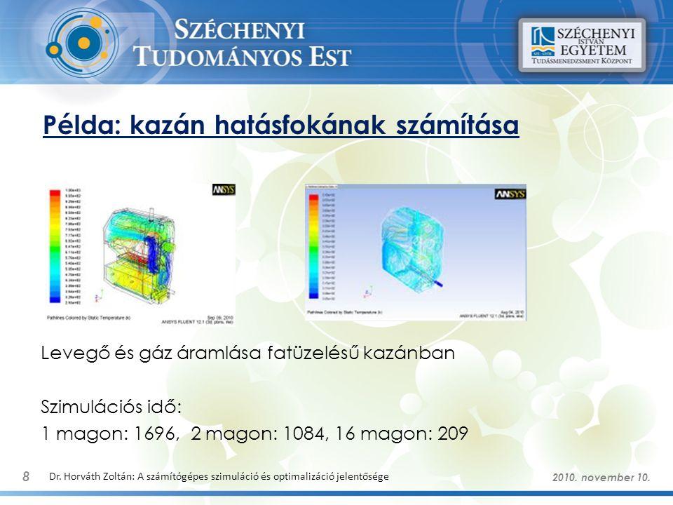 Példa: kazán hatásfokának számítása 8 Dr. Horváth Zoltán: A számítógépes szimuláció és optimalizáció jelentősége 2010. november 10. Levegő és gáz áram
