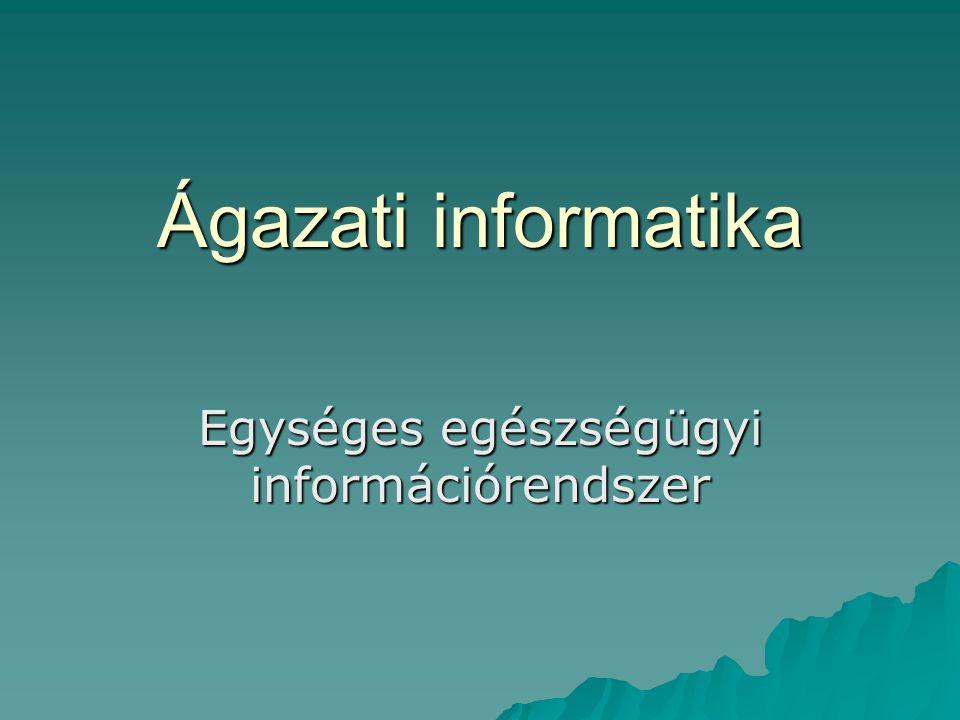 1.Ágazati adatszótár  Közösen felhasznált adatok körének meghatározása –Adatok pontos definíciója, mértékegységük –Keletkezés helye –Elsődleges adatgyűjtés helye –Adatok közötti kapcsolatok köre, minősége –Előfordulási, megfigyelési időszak gyakorisága –Regionális és országos összesítések helye –Elérhetőség, közzététel formai és tartalmi jellemzői  Az egységes adatmodell szükségszerű alapfeltételei –A fogalmak egysége értelmezése (konvenciók) –Több célú adatgyűjtésekhez tartozó minimális adatkörök kijelölése –Egységes kódrendszer használata