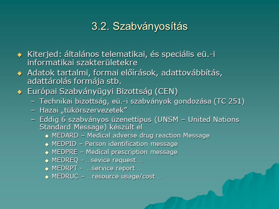 3.2. Szabványosítás  Kiterjed: általános telematikai, és speciális eü.-i informatikai szakterületekre  Adatok tartalmi, formai előírások, adattovább