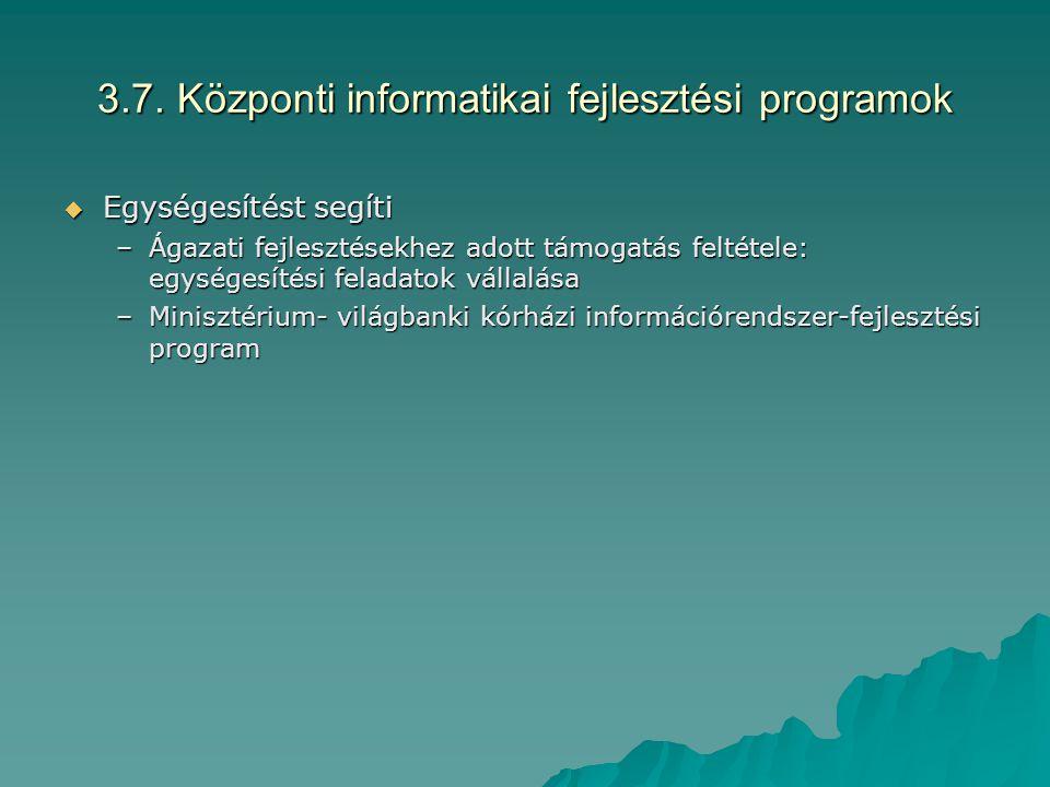 3.7. Központi informatikai fejlesztési programok  Egységesítést segíti –Ágazati fejlesztésekhez adott támogatás feltétele: egységesítési feladatok vá