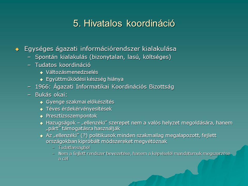 5. Hivatalos koordináció  Egységes ágazati információrendszer kialakulása –Spontán kialakulás (bizonytalan, lasú, költséges) –Tudatos koordináció  V